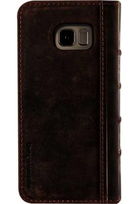 Book Case Samsung Galaxy S7 Deri Oud Koyu Kahverengi Cüzdanlı Kılıf