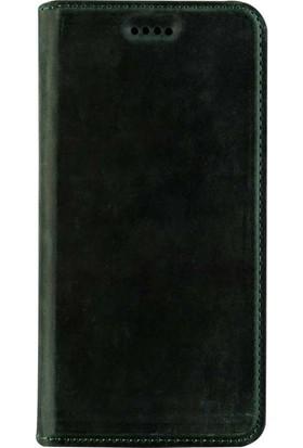Book Case Samsung Galaxy S8 Slim Magnet Deri Pisa Yeşil Cüzdanlı Kılıf