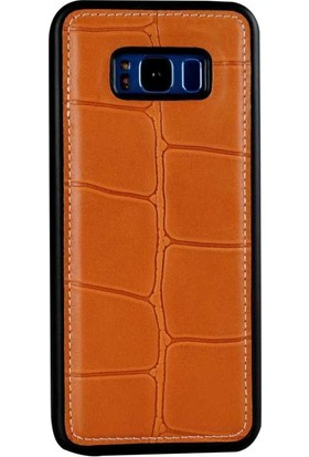 Justin Case Samsung Galaxy S8 Plus Kapak Back Cover Deri Port Turuncu
