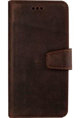 Book Case Samsung Galaxy S8 Plus Deri Classic Daria Antique Kahverengi Cüzdanlı Kılıf