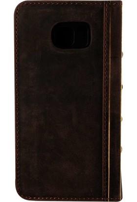 Book Case Samsung Note 5 Deri Oud Koyu Kahverengi Cüzdanlı Kılıf