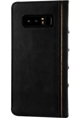 Book Case Samsung Note 8 Deri Cecile Siyah Cüzdanlı Kılıf