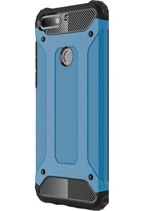 Happyshop Huawei Y7 2018 Kılıf Çift Katmanlı Armour Case+Nano Cam Ekran Koruyucu
