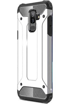 Happyshop Samsung Galaxy A6 Plus 2018 Kılıf Çift Katmanlı Armour Case+Cam Ekran Koruyucu