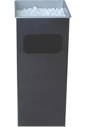 Arı Metal 1117 Kare Küllüklü Çöp Kovası Boyalı 37 Litre Siyah