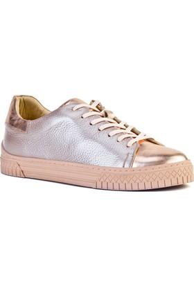 Cabani Bağcıklı Sneaker Kadın Ayakkabı Pudra Deri