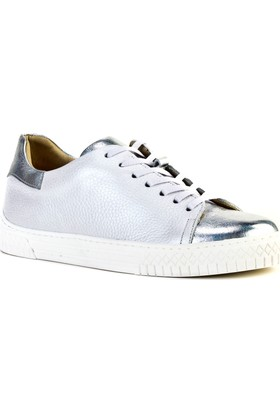 Cabani Bağcıklı Sneaker Kadın Ayakkabı Gümüş Floter Deri