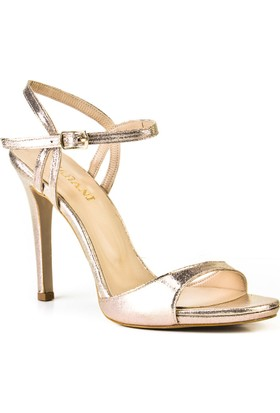 Cabani 12 cm Topuklu Bilek Bağlı Günlük Kadın Ayakkabı Altın Deri