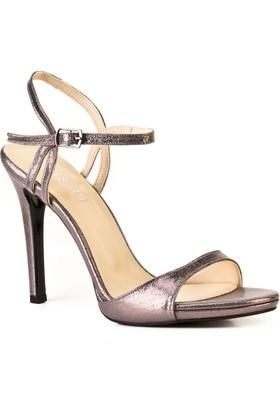 Cabani 12 cm Topuklu Bilek Bağlı Günlük Kadın Ayakkabı Füme Deri