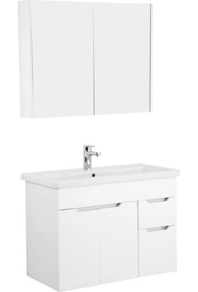 Kale Stora 90Cm Set (Lavabo Dolabı+Aydınlatmasız Ayna Dolabı) Beyaz