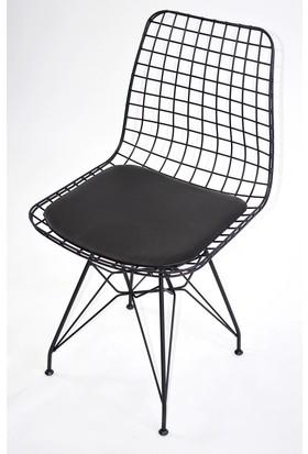 Payanda Moon Design Kafes Tel Sandalye Siyah