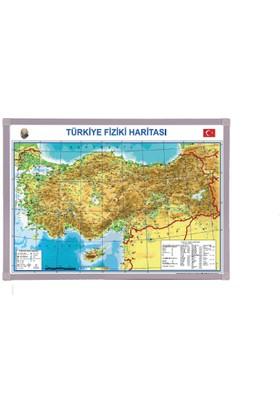 Aymi 70X100 Alüminyum Çerçeve Türkiye Fiziki Harita