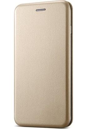 Ehr. Xiaomi Mi 5S Plus Cüzdanlı Mıknatıslı Kapaklı Kılıf + Ekran Koruyucu Cam - Gold
