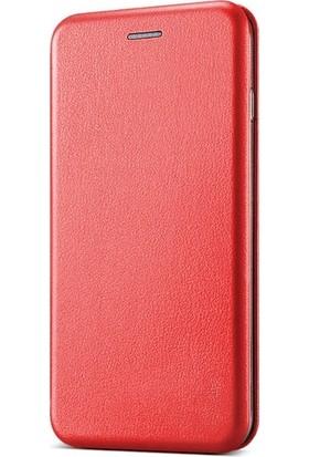 Ehr. Lenovo K6 Cüzdanlı Mıknatıslı Kapaklı Ultra Lüx Kılıf + Ekran Koruyucu Cam - Kırmızı