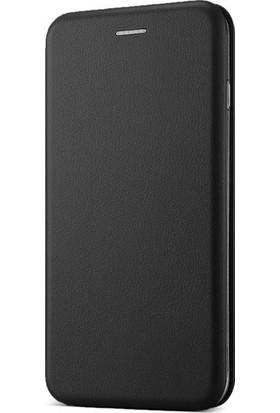 Ehr. Huawei P10 Lite Cüzdanlı Mıknatıslı Kapaklı Kılıf + Ekran Koruyucu Cam - Siyah