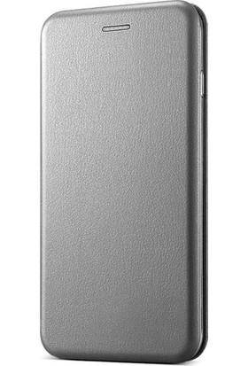 Ehr. Samsung Galaxy C7 Pro Cüzdanlı Mıknatıslı Kapaklı Kılıf + Ekran Koruyucu Cam - Gümüş