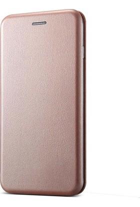 Ehr. Samsung Galaxy J5 Pro Cüzdanlı Mıknatıslı Kapaklı Kılıf + Ekran Koruyucu Cam - Rose Gold