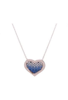 Nagiss 925 Ayar Gümüş Rose Rengi Mavi Zirkon Taşlı Kalpli Kolye