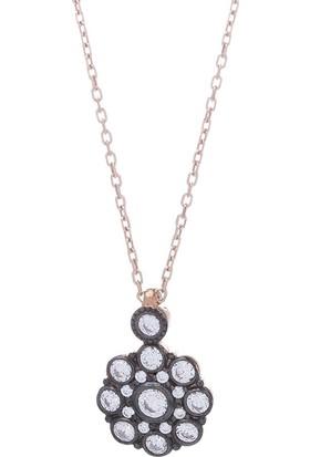 Nagiss 925 Ayar Gümüş Rose Rengi Çiçek Model Otantik Kolye