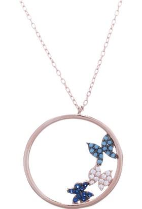 Nagiss 925 Ayar Gümüş Rose Rengi Doğal Taşlı Minik Kelebekli Kolye