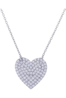 Nagiss 925 Ayar Gümüş Zirkon Taşlı Kalp Kolye