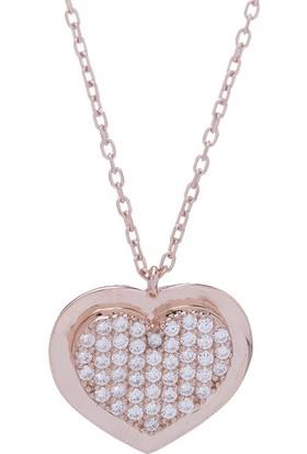 Nagiss 925 Ayar Gümüş Rose Rengi Zirkon Taşlı Çerçeveli Kalp Kolye