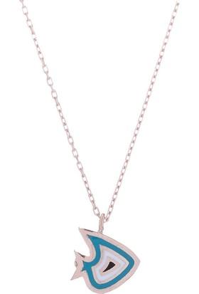 Nagiss 925 Ayar Gümüş Rose Rengi Mineli Balık Kolye