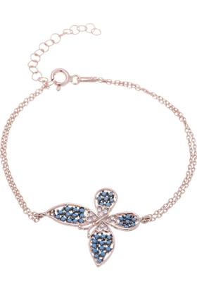 Nagiss 925 Ayar Gümüş Rose Rengi Turkuaz Taşlı Kelebek Bileklik