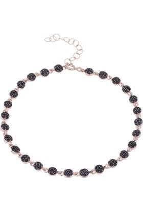 Nagiss 925 Ayar Gümüş Rose Rengi Siyah Zirkon Taşlı Bileklik