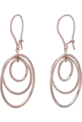 Nagiss 925 Ayar Gümüş Rose Rengi İç İçe Halka Model Küpe