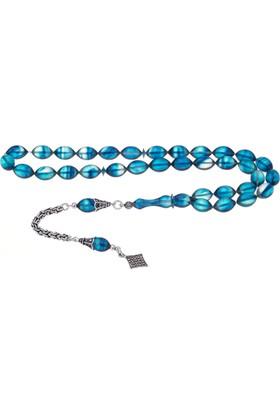 Nagiss 925 Ayar Gümüş Püsküllü Mavi Hareli Sıkma Kehribar Tesbih