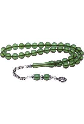 Nagiss 925 Ayar Gümüş Püsküllü Yeşil Bilek Boy Bakalit Kehribar Tesbih