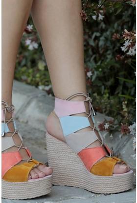 Stil Town Açık Gökkuşağı Dolgu Topuk Ayakkabı