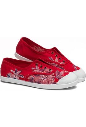 Potomaç Kadın Kırmızı Organik Keten Ayakkabı P08212 ROJO INGLÉS BORDADO (PT)