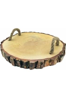 Elite Ağaç Kütük Natural İpli Tepsi Yuvarlak Çap 25 cm