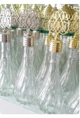 Yavuz Cam Şişe Kolonya Şişesi İksir Osmanlı Motifli Kapak Damarlı Gümüş Kapak 9 cm * 13,5 cm