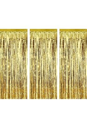 Kikajoy Kapı Perdesi Kapı Banner Fon Süsü Metalize Altın En 1 Metre, Püskül Uzunluğu 2 Metre