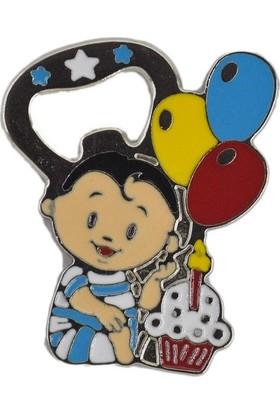 Yavuz Hediyelik 20 Adet Balonlu ve Pastalı Bebek Açacak Metal Bebek Şekeri Mavi 6 * 5 cm