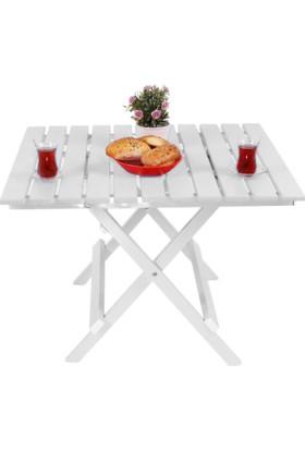 Adaliss Katlanır Bahçe Balkon Masası, Mini Masa Beyaz