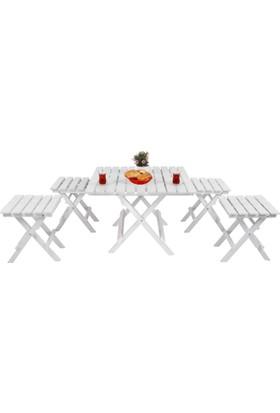 Adalis Katlanır Bahçe Balkon Masası Mini Masa Takımı Beyaz