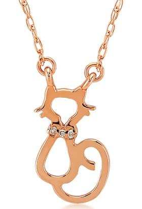 Divas Love Altın Pırlantalı Kedi Kolye