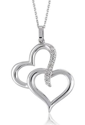 Divas Love Pırlanta Altın İki Kalp Kolye