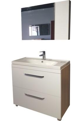 Lora Banyo Dolabı Takımı + Ayna + Seramik Lavabo 80 cm