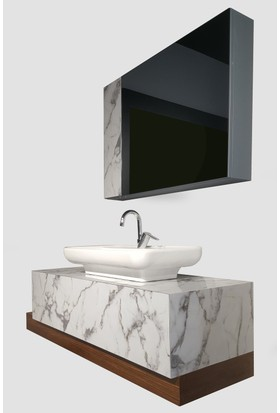 Doğa Banyo Dolabı Takımı + Ayna + Seramik Lavabo 140 cm