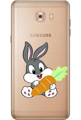 Tomkas Samsung Galaxy C9 Pro 0.2 mm Desenli Arka Kapak hopi14252