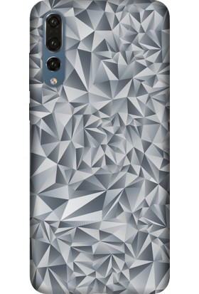 Tomkas Samsung Galaxy S9 Plus Kılıf Desenli İnce Silikon Kapak - Piramit Gri