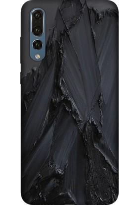 Tomkas Huawei P20 Pro Kılıf Desenli İnce Silikon Kapak - Siyah Beton
