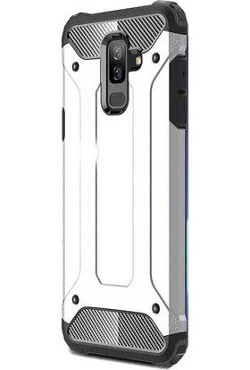 KNY Samsung Galaxy A6 Plus 2018 Kılıf Çift Katmanlı Armour Case + Cam Ekran Koruyucu