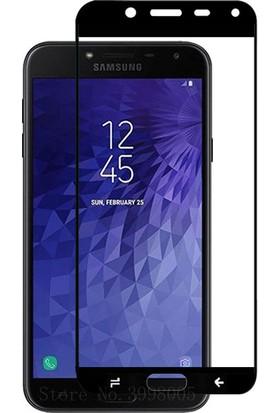 KNY Samsung Galaxy J4 2018 Full Yapışan Renkli Cam Ekran Koruyucu Siyah