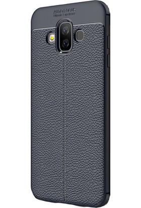KNY Samsung Galaxy J7 Duo Kılıf Deri Desenli Lux Niss Silikon + Cam Ekran Koruyucu